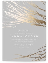 This is a grey foil stamped wedding invitation by AK Graphics called Frosted Branches with foil-pressed printing on signature in standard.