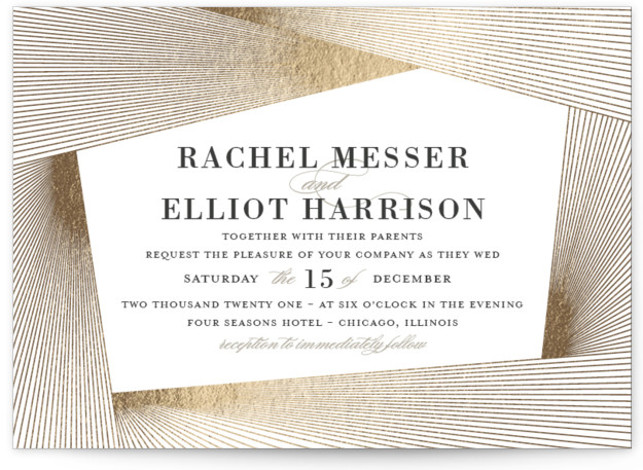 This is a grey foil stamped wedding invitation by Kaydi Bishop called String Art with foil-pressed printing on signature in standard.