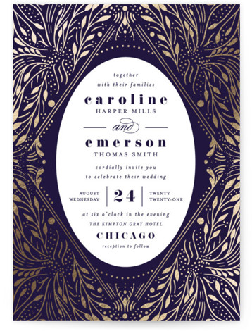 This is a portrait botanical, blue, gold Wedding Invitations by Angela Marzuki called Bravura with Foil Pressed printing on Signature in Classic Flat Card format. A hand drawn, intricate frame circles around the wedding details