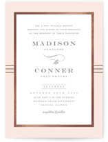 This is a rosegold foil stamped wedding invitation by Stacey Meacham called Distinguished Frame with foil-pressed printing on signature in standard.