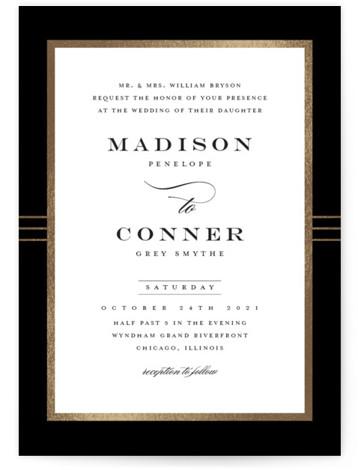 Distinguished Frame Foil-Pressed Wedding Invitations
