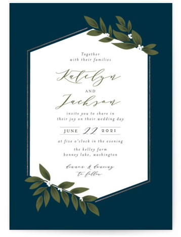 This is a portrait botanical, blue, silver Wedding Invitations by Itsy Belle Studio called Laurels Frame with Foil Pressed printing on Signature in Classic Flat Card format. This wedding invitation features illustrated leafs eclipsing a rose gold frame.
