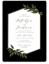 This is a black foil stamped wedding invitation by Itsy Belle Studio called Laurels Frame with foil-pressed printing on signature in standard.