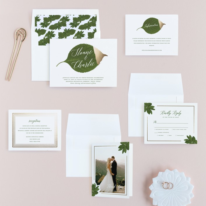 Dipped leaf foil pressed wedding invitations by kaydi bishop minted invitation suite stopboris Choice Image