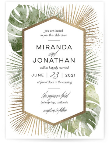 This is a portrait botanical, gold, white Wedding Invitations by shoshin studio called Palm Springs with Foil Pressed printing on Signature in Classic Flat Card format. Gilded palm + watercolor monstera create a luxe mid century vibe