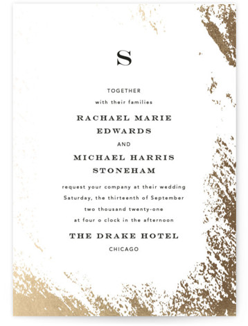 This is a portrait modern, painterly, gold, white Wedding Invitations by Kimberly FitzSimons called Edgy Charm with Foil Pressed printing on Signature in Classic Flat Card format. A wedding invitation with a touch of edgy foiling and eye catching type. ...