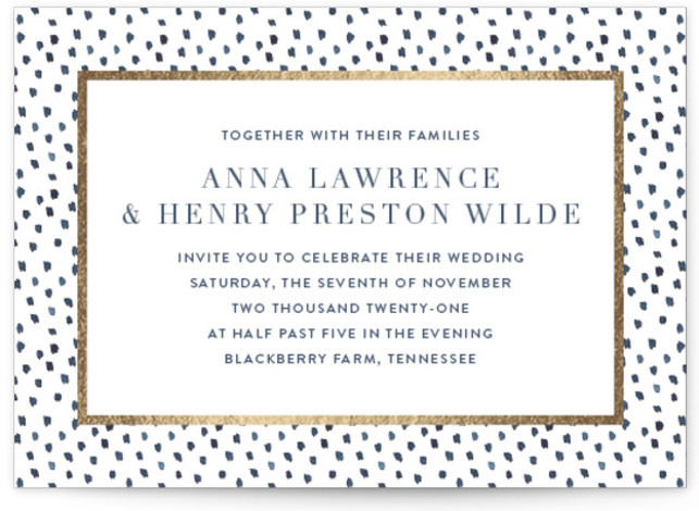 This is a landscape bohemian, modern, gold, purple Wedding Invitations by Lagniappe Paper called West Village with Foil Pressed printing on Signature in Classic Flat Card format. Inspired by a favorite neighborhood in NYC, this wedding invitation design is classic ...