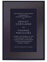 This is a blue foil stamped wedding invitation by Paper Dahlia called Striped Elegance with foil-pressed printing on signature in standard.