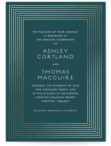 This is a portrait bold and typographic, classic and formal, gold, green Wedding Invitations by Paper Dahlia called Striped Elegance with Foil Pressed printing on Signature in Classic Flat Card format. Delicately striped frame in foil and art deco inspired ...
