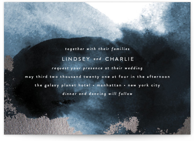 This is a landscape bold and typographic, modern, green, silver Wedding Invitations by Phrosne Ras called purple fantasy with Foil Pressed printing on Signature in Classic Flat Card format. A watercolor texture design with rich purples and rose gold foil ...