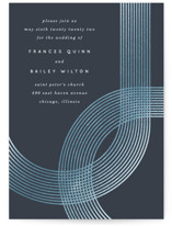 This is a blue foil stamped wedding invitation by Baumbirdy called Banded Arch with foil-pressed printing on signature in standard.