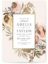This is a pink foil stamped wedding invitation by Chris Griffith called Spray of Spring with foil-pressed printing on signature in standard.