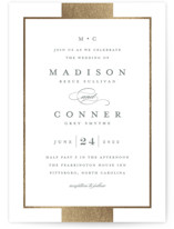 This is a grey foil stamped wedding invitation by Stacey Meacham called Refined style with foil-pressed printing on signature in standard.