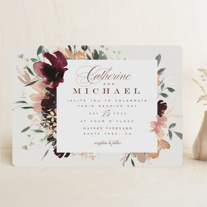 """""""harvest"""" - Rustic Foil-pressed Wedding Invitations in Eggshell by Leah Bisch."""