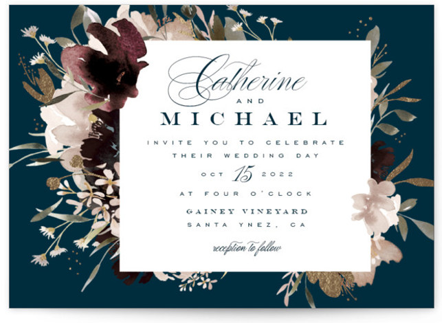 This is a landscape botanical, painterly, rustic, blue, colorful Wedding Invitations by Leah Bisch called harvest with Foil Pressed printing on Signature in Classic Flat Card format. Autumn hues and abundant florals set the tone for an elegant Fall wedding ...