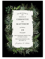 This is a black foil stamped wedding invitation by iamtanya called Into Nature with foil-pressed printing on signature in standard.