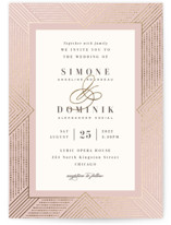 This is a pink foil stamped wedding invitation by Hooray Creative called Beaded Edge with foil-pressed printing on signature in standard.