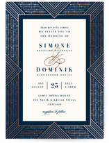 This is a blue foil stamped wedding invitation by Hooray Creative called Beaded Edge with foil-pressed printing on signature in standard.