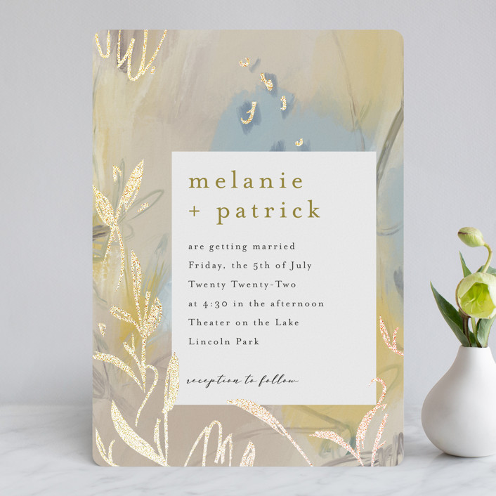 """""""Impressions"""" - Modern Foil-pressed Wedding Invitations in Peachy by Lindsay Megahed."""