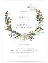 This is a green foil stamped wedding invitation by Petra Kern called gilded wreath with foil-pressed printing on signature in standard.
