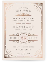 This is a pink foil stamped wedding invitation by Hooray Creative called Art Deco Border with foil-pressed printing on signature in standard.