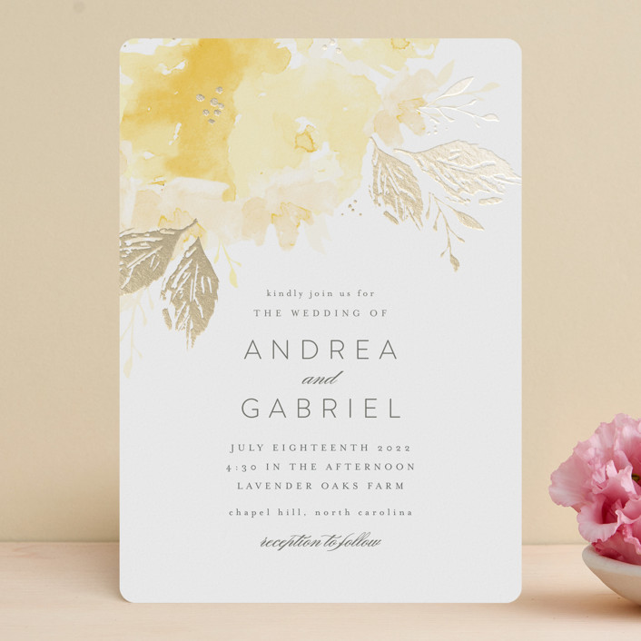 """painted bouquet"" - Foil-pressed Wedding Invitations in Rose by Karidy Walker."