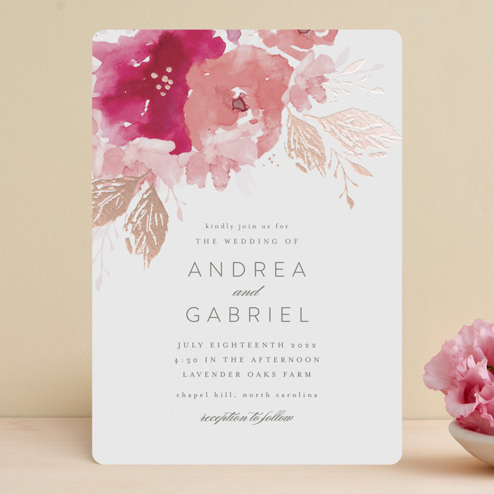 """""""painted bouquet"""" - Foil-pressed Wedding Invitations in Rose by Karidy Walker."""