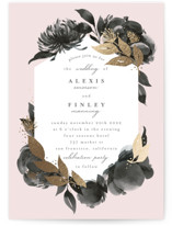 This is a black foil stamped wedding invitation by Four Wet Feet Studio called Aquarelle with foil-pressed printing on signature in standard.
