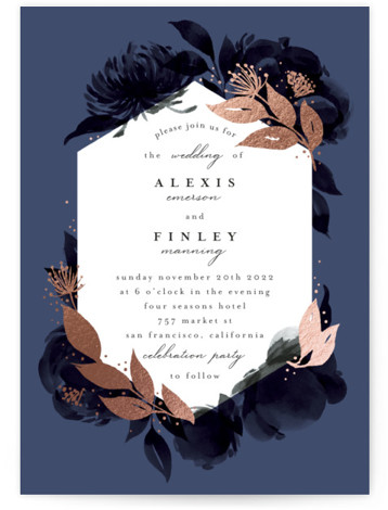 This is a portrait botanical, painterly, rustic, blue Wedding Invitations by Four Wet Feet Studio called Aquarelle with Foil Pressed printing on Signature in Classic Flat Card format. B&W watercolor floral illustrations with foil accents
