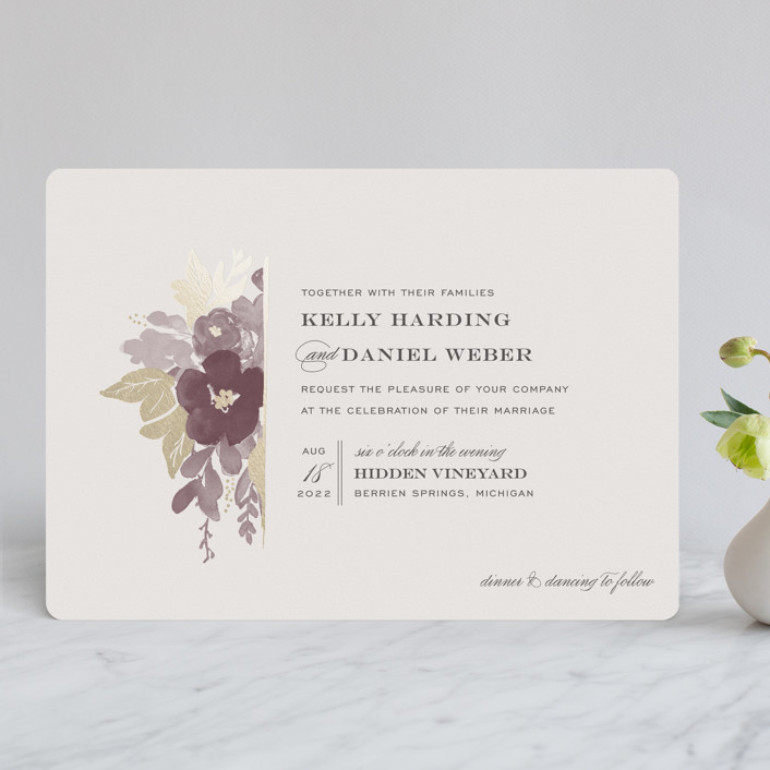 """""""Ambrosia"""" - Rustic Foil-pressed Wedding Invitations in Wine by Sarah Brown."""