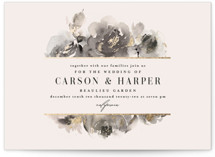 This is a white foil stamped wedding invitation by Lori Wemple called Enchanted Blooms with foil-pressed printing on signature in standard.
