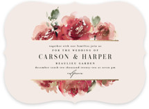 This is a red foil stamped wedding invitation by Lori Wemple called Enchanted Blooms with foil-pressed printing on signature in standard.