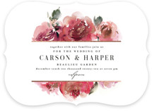 This is a pink foil stamped wedding invitation by Lori Wemple called Enchanted Blooms with foil-pressed printing on signature in standard.