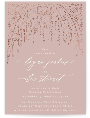 This is a portrait bohemian, pink Wedding Invitations by Phrosne Ras called Starry Sky with Foil Pressed printing on Signature in Classic Flat Card format. A magical starry sky gold pressed into a paper creates a shimmering golden design for ...