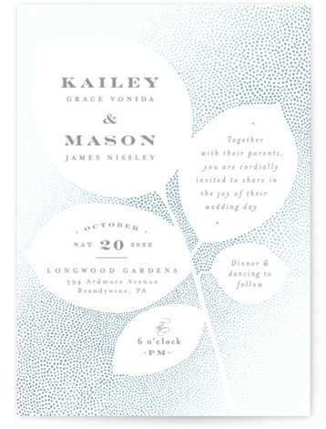 This is a portrait botanical, rustic, blue Wedding Invitations by Jennifer Wick called Pointillist rose leaves with Foil Pressed printing on Signature in Classic Flat Card format. The silhouette of rose leaves created by a composition of dots beautifully houses ...