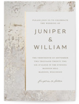 This is a beige foil stamped wedding invitation by Basil Design Studio called Juniper with foil-pressed printing on signature in standard.