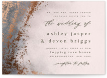 This is a green foil stamped wedding invitation by Everett Paper Goods called Tidal with foil-pressed printing on signature in standard.
