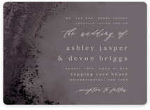 This is a black foil stamped wedding invitation by Everett Paper Goods called Tidal with foil-pressed printing on signature in standard.