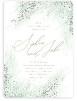 This is a green foil stamped wedding invitation by Kristie Kern called Opus with foil-pressed printing on signature in standard.