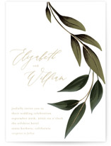This is a green foil stamped wedding invitation by Susan Moyal called Cascading Vine with foil-pressed printing on signature in standard.
