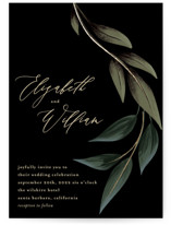 This is a black foil stamped wedding invitation by Susan Moyal called Cascading Vine with foil-pressed printing on signature in standard.