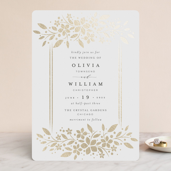 """trellis"" - Foil-pressed Wedding Invitations in Flaxen by Melanie Kosuge."