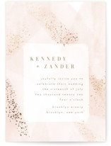 This is a pink foil stamped wedding invitation by Kristie Kern called Zara with foil-pressed printing on signature in standard.