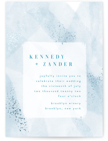 This is a portrait painterly, blue Wedding Invitations by Kristie Kern called Zara with Foil Pressed printing on Signature in Classic Flat Card format. A modern invitation featuring soft, abstract watercolor and delicate gold foil details.