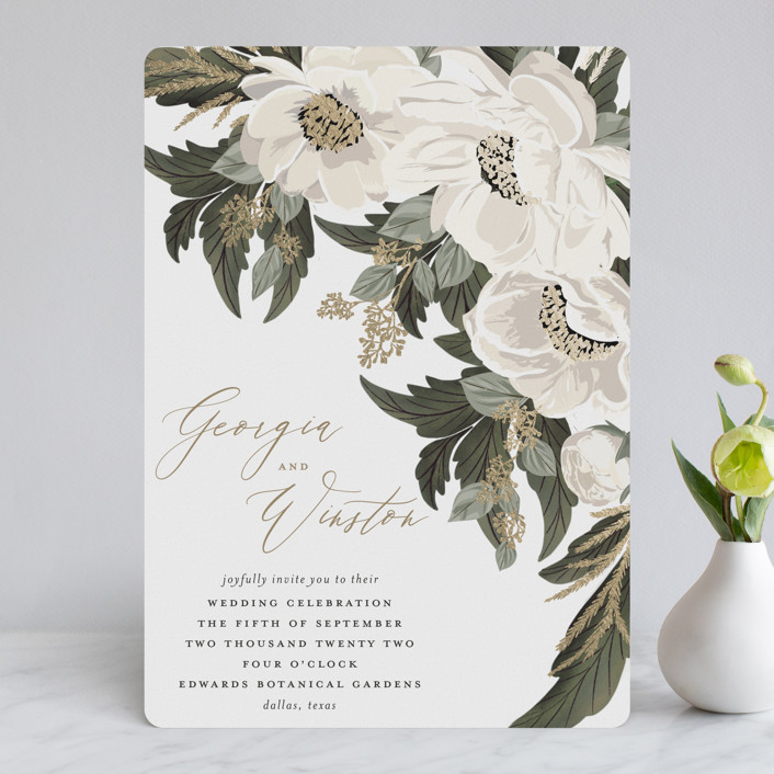 """Floral Sweep"" - Foil-pressed Wedding Invitations in Powder by Susan Moyal."