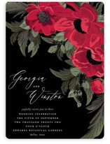 This is a red foil stamped wedding invitation by Susan Moyal called Floral Sweep with foil-pressed printing on signature in standard.