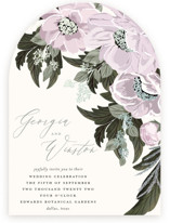 This is a purple foil stamped wedding invitation by Susan Moyal called Floral Sweep with foil-pressed printing on signature in standard.