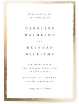This is a white foil stamped wedding invitation by Kelly Schmidt called Painted Frame with foil-pressed printing on signature in standard.