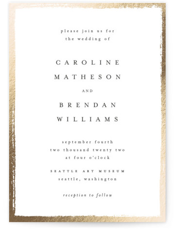 Painted Frame Foil-Pressed Wedding Invitations