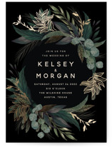 This is a black foil stamped wedding invitation by Susan Moyal called Shades of Green with foil-pressed printing on signature in standard.